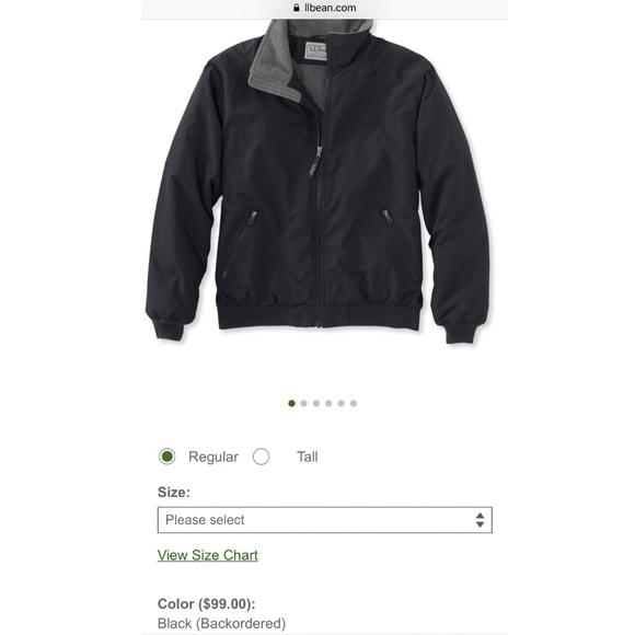Mens Black Ll Bean Warm Up Jacket Fleece Lined